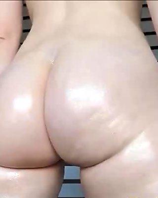 Big Oiled Butt Dildo Riding