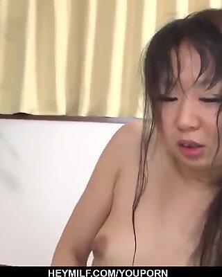 Morita Kurumi enjoys plenty of cock into her shaved twat