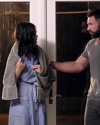 Striking hot babe gets her hairy pussy nailed during the stormReport this video
