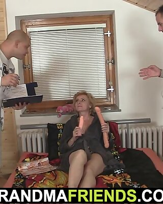 small hairy mature blonde enjoys double penetration