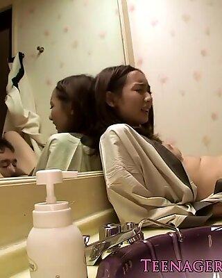 Japanese teen beauty gets wet pussy eaten