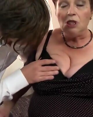 Crazy old grandma eats and fucks young boy