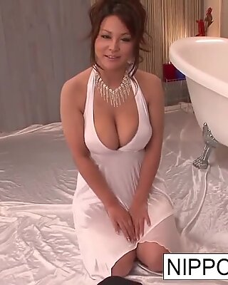 Sexy slut massages him with her big tits & hairy pussy