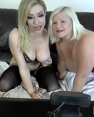 Lesbian gran eats out and toys pussy