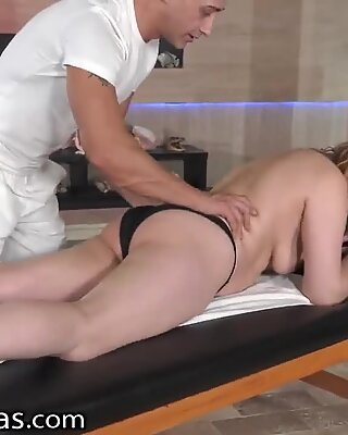 LustyGrandmas BBW GILF Gets Fingered And Pounded Hard During Her Massage At The Spa