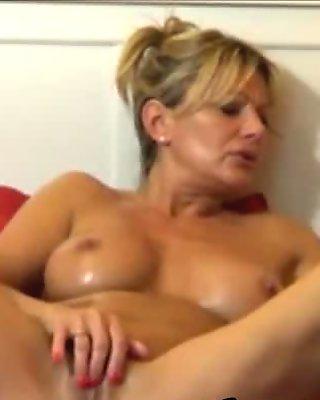 Gorgeous blondie with wonderful body masturbation