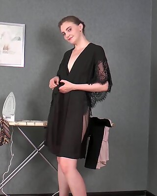 Malta takes off her dress and plays with hairy pussy