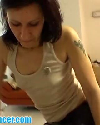 Milf in leather skirt does nasty lapdance