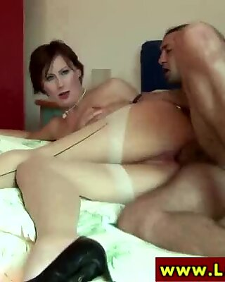 Glam euro in stockings fucked doggystyle