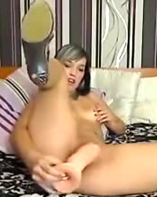 hot girl chatting on webcam and fucking pussy with big dildo